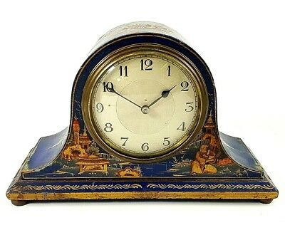 ANTIQUE NAPOLEON HAT PAINTED CHINOISERIE STYLE MANTLE CLOCK FRENCH Clockworks