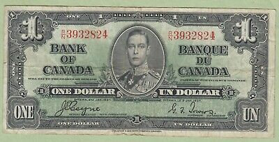 1937 Bank of Canada One Dollar Note - Coyne/Towers - R/N3932824 - Fine