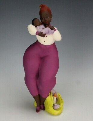 Emilio Casarotto Italian L/E African American ARIEL Mother Child Figurine BBW