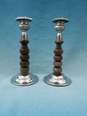 Vintage Pair of Chrome and Wood Candlesticks