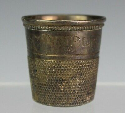 Vintage Only A Thimble Full Sterling Silver Cocktail Shot Glass Jigger Cup LRG