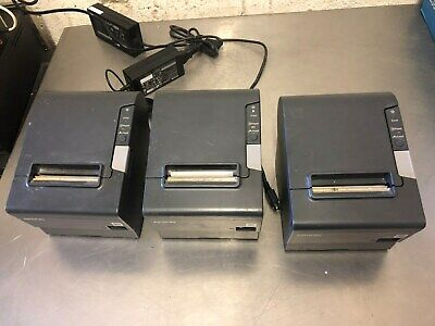 LOT of 3 EPSON TM-T88V M244A USB THERMAL RECEIPT PRINTERS with 2 POWER SUPPLIES