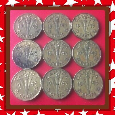 🇨🇦 Lot Of 9-1943 Tombac Canada five cents Canadian nickels Coins #1503 🇨🇦