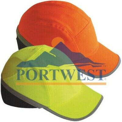 8050024bf3d Portwest Hi Vis Protective Bump Cap Baseball Style Hard Hat Safety Workwear  Mens
