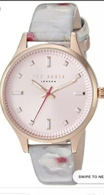 e5550a365 NIB TED BAKER Zoe White Leather With Floral And Pink Dial Watch ...