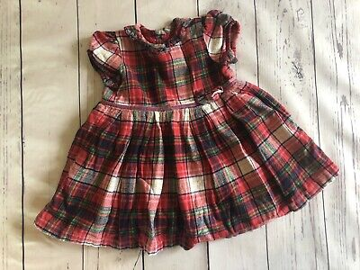 Baby Girls * George * Red Tartan Dress - 6-9 Months Vgc (4934)