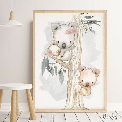 Baby, Nursery Wall Art Prints Australian Animals, Kangaroo, koala, Wombat prints