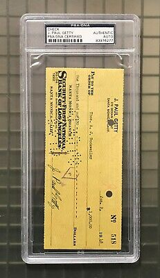 J. Paul Getty Signed 1948 Check Autographed PSA/DNA AUTO Oil Tycoon
