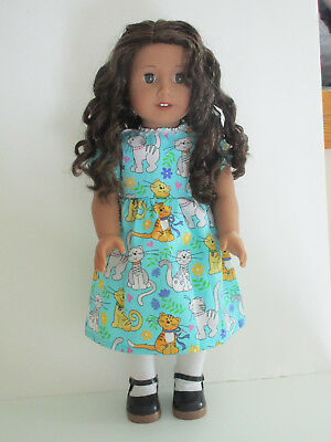"""Sparkly Cats/Teal Dress for 18"""" Doll Clothes American Girl"""