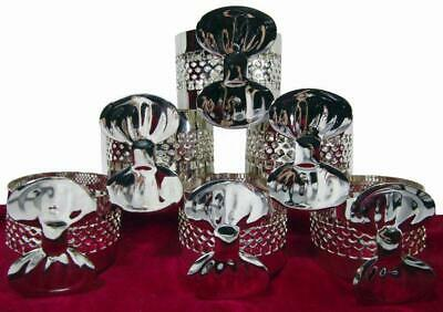 Napkin Rings Set of 6 EPNS Silver Pierced Bowtie Russell Collection
