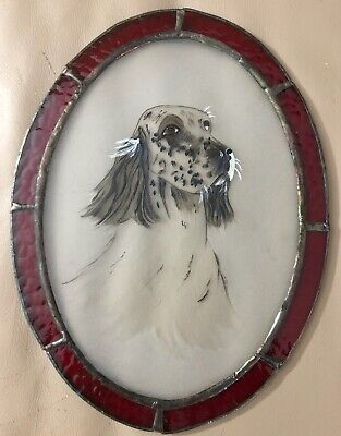 """English Setter Stained Glass Window Wall Plaque Hand Painted Dog 8 1/4"""" Hanging"""