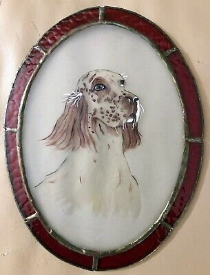 """Red English Setter Stained Glass Window Wall Plaque Hand Painted 8 1/4"""" Hanging"""