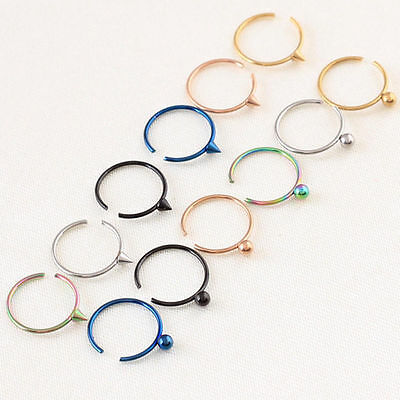 Tragus Nose Hoop Ring Earring Body Piercing Surgical Steel /Allergy free ED282