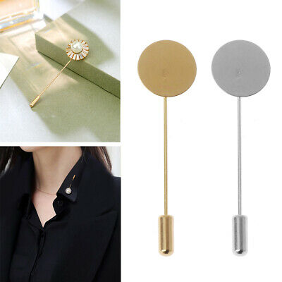 10Pcs Round Tray Lapel Stick Brooch Pin Suit Hat Scarf Badge DIY Costume Jewelry