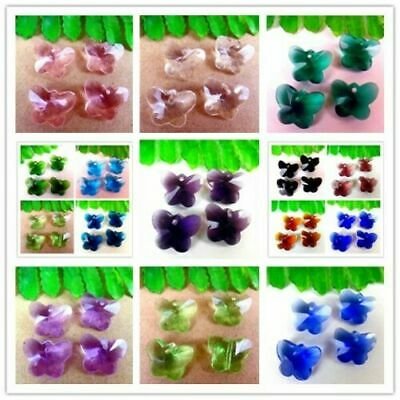 4Pcs Multicolor Choice Crystal Glass Butterfly Pendant Bead 15x12x8mm BR40