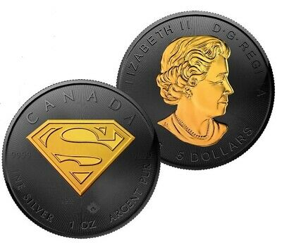 2016 1 Oz Silver Superman Coin $5 Coin Black Ruthenium-24Kt Blackout Collection
