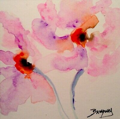 Broadway Original Watercolor 3 x 3 in. Abstract Expressionism Floral painting