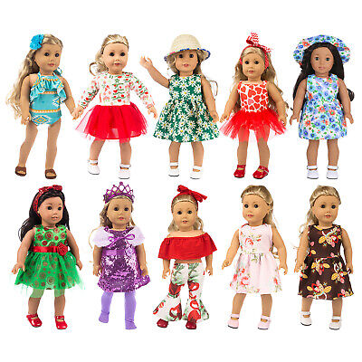 10 Set Girl Doll Clothes Dress Skirt Hat For America 18 Inch Doll Outfits 23 PCS
