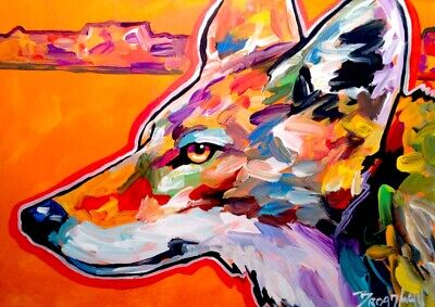 Broadway Original  5 x 7 in. Canson Artboard Expressionist Coyote Painting