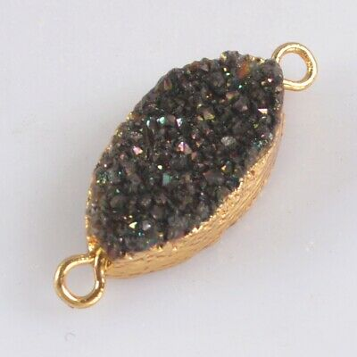 Natural Agate Titanium Druzy Connector Gold Plated B078314