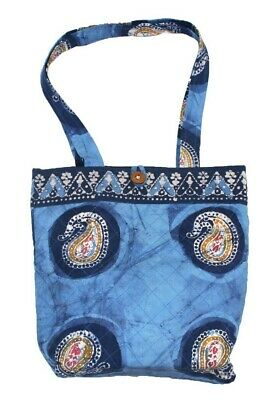 Authentic Batik Cotton Quilted Structured Tote Bag 14 x 14