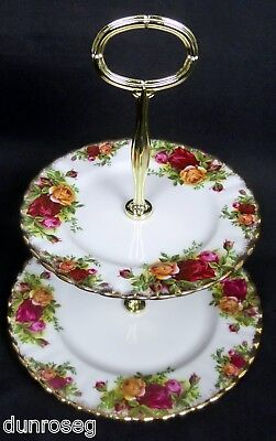 OLD COUNTRY ROSES 2-TIER CAKE STAND, 1st QLTY, GC, 1962-02, ENGLAND ROYAL ALBERT