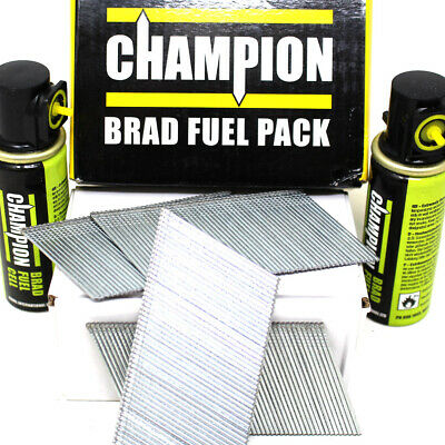 CHAMPION BRAD NAILS FUEL PACK 32, 38, 51 + 64mm 16G ANGLED GALVANISED + 2 CELLS