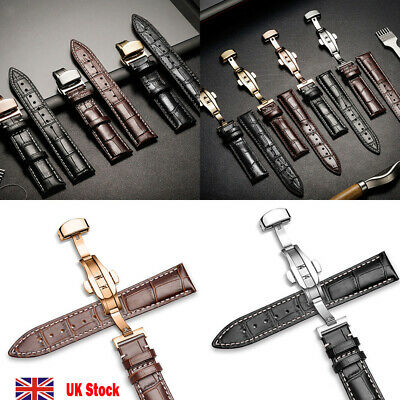 Mens Genuine Leather Watch Strap Wristwatch Band Butterfly Clasp Spring Bars Pin