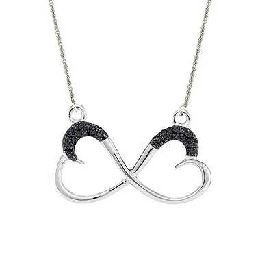 """Black Diamond Infinity Heart Pendant Necklace 18"""" .925 Sterling Silver .10ct"""