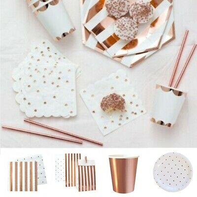 Birthday Rose Gold Party Tableware Set Disposable Paper Plates Cup Wedding Straw