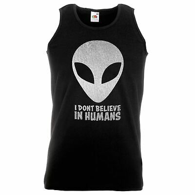 Unisex Black I Don't Believe In Humans Vest Aliens Area 51 UFO Funny