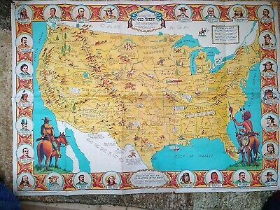 Sheriff Danny Arnold S Pictorial Map Old West American Frontier Cowboys Indians 65 00 Picclick Uk