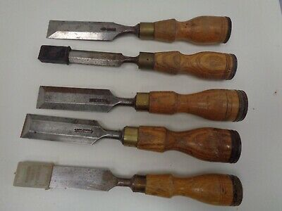 #8 Vintage Marples Wooden Handle Woodworking Chisels/Gouges x 5