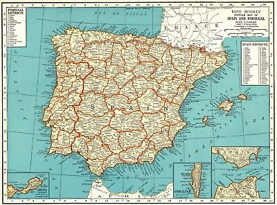 1937 Antique Map of SPAIN and PORTUGAL Collectible Vintage Spain Map 6418