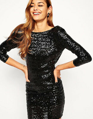 cd681ed2bdc ASOS STUNNING BLACK Sequin Cowl Back Midi Dress Size 10 BNWT - EUR ...