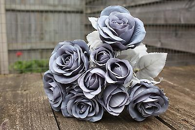 9 x VINTAGE DUSKY FRENCH BLUE SILK ROSES & ROSE BUDS TIED BUNCH / SMALL BOUQUET