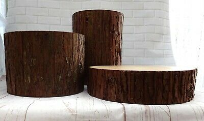 Cascading Faux Wood Slices Hand Made Wooden Wedding Cake Stand Set