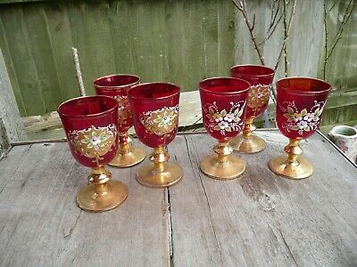 Vintage Bohemian Czech Glass X 6 Red Gold Hand Painted Decoration Double Sides