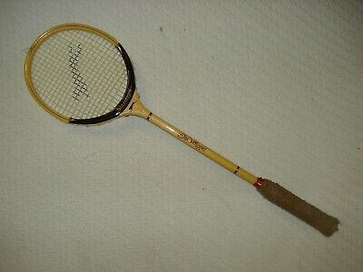 Slazenger The Whippet Squash Badminton racket Vintage wood bamboo with cover 24667dd434689