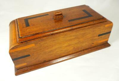 Art Deco Inlaid Oak Parquetry Wooden Jewellery or Games Box + Insert Tray 1930s