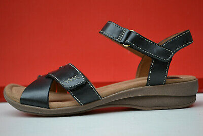 c95efe8adb29 Clarks BNIB Ladies Flat Sandal REID LAGUNA Black Leather UK 5 Extra Wide Fit