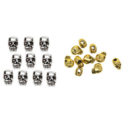 20x Gothic Alloy Carved Skull Head Spacer Loose Beads Charm Jewelry Findings