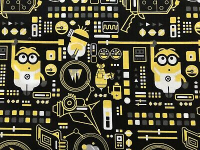 Minions Black FQ Fat Quarter Fabric Minion Despicable Me 100% Cotton Quilting
