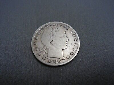 1908 BARBER Half Dollar - US 50 cents silver coin #L4