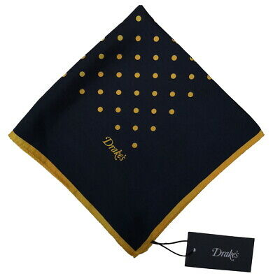 Drake's Pocket Square  Navy blue with yellow dots Pure silk