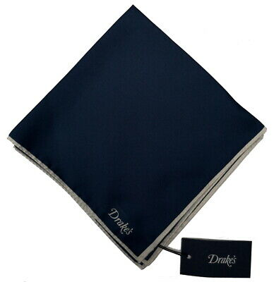 Drake's Pocket Square  Solid navy shoestring edge Pure silk