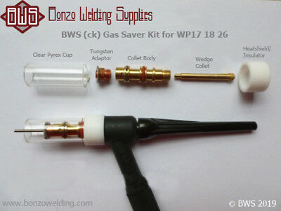 CK Standard Diameter Gas Saver Kit 1.6mm OR 2.4mm For WP17 18 26 Torches