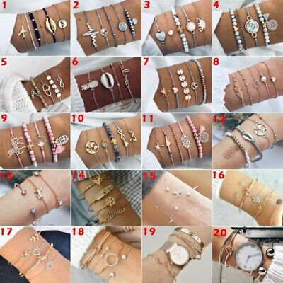 Fashion Women Jewelry Set Stainless Steel Lots Style Cuff Bracelet Bangle Chain