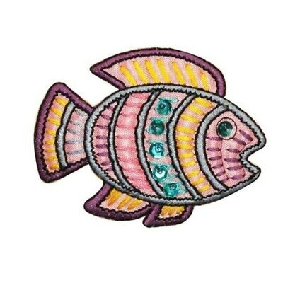 ID 0208B Tropical Ancient Fish Patch Shiny Sequins Embroidered Iron On Applique