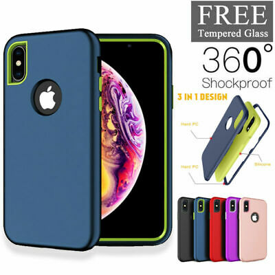 For iPhone XR / XS Max / X / 8 7 6 Plus Heavy Duty Hybrid Rugged Silicone  Case